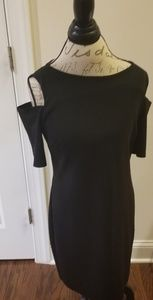 Black midi dress open sleeves slit